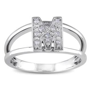 Miadora Sterling Silver Diamond Accent 'M' Initial Ring