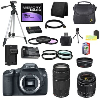 Canon EOS 7D DSLR Camera Body with 18-55mm IS II and 75-300mm III Lenses 16GB Bundle