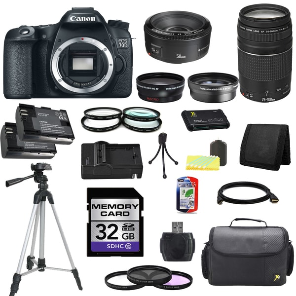 Canon EOS 70D DSLR Camera Body with EF 50mm f18 II and EF 75300mm