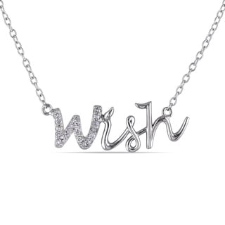 Miadora Sterling Silver Diamond 'Wish' Word Necklace
