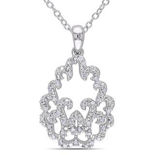 Miadora Sterling Silver 1/5ct TDW Diamond Necklace