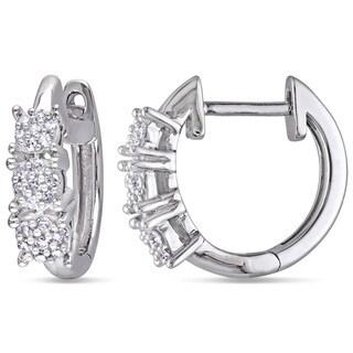 Miadora 10k White Gold 1/6ct TDW Diamond Cuff Earrings (H-I, I2-I3)