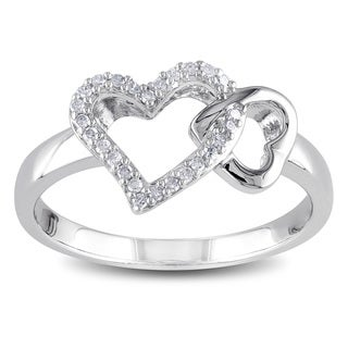 Miadora Sterling Silver 1/10ct TDW Diamond Heart Ring