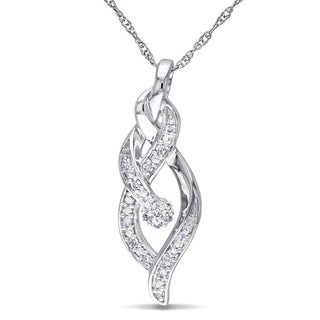 Miadora 10k White Gold 1/10ct TDW Diamond Necklace