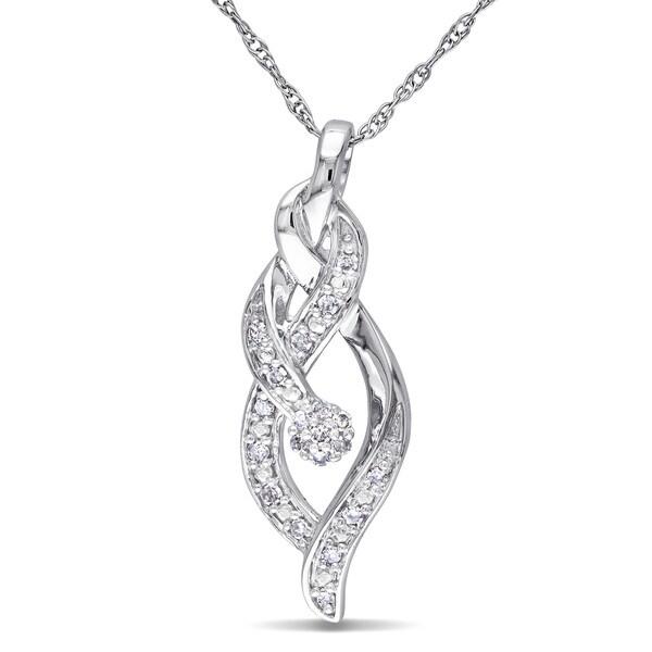 Miadora 10k White Gold 1/10ct TDW Diamond Necklace