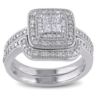 Miadora Sterling Silver Princess-cut Quad 1/3ct TDW Diamond Double Halo Bridal Ring Set (More options available)