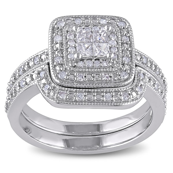 Miadora Sterling Silver Princess-cut Quad 1/3ct TDW Diamond Double Halo Bridal Ring Set