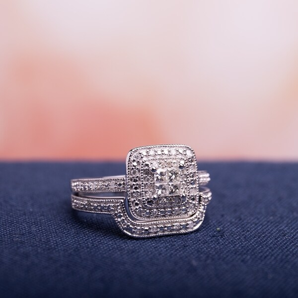 Miadora Sterling Silver Princess-cut Quad 1/3ct TDW Diamond Double Halo Bridal Ring Set