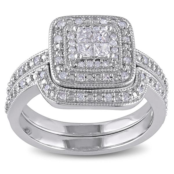 Miadora Sterling Silver 1/3ct TDW Diamond Bridal Set (G-H, I2-I3)
