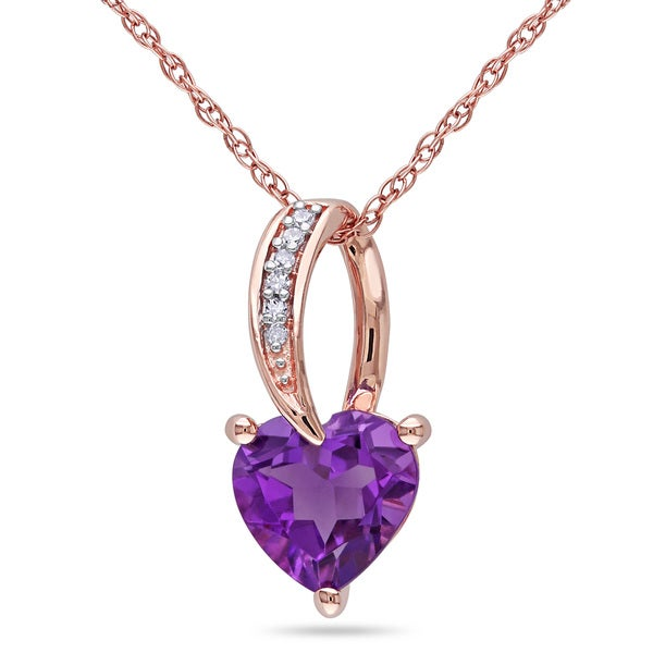 Miadora 10k Rose Gold 1 1/6ct TGW African Amethyst and Diamond Accent Heart Necklace
