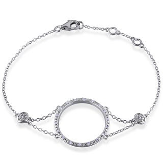 Miadora Sterling Silver 1/10ct TDW Diamond Circle Bracelet (H-I, I2-I3)