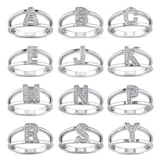 Miadora Sterling Silver Diamond Accent Initial Ring