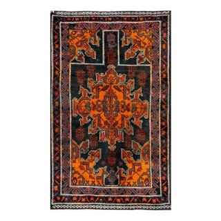 Herat Oriental Semi-antique Afghan Hand-knotted Tribal Balouchi Navy/ Gold Wool Rug (2'7 x 4'5)