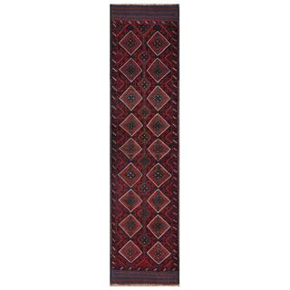Herat Oriental Semi-antique Afghan Hand-knotted Tribal Balouchi Red/ Navy Wool Rug (2' x 8'9)