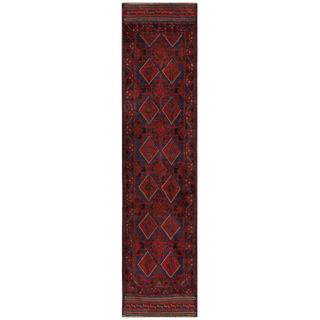 Herat Oriental Semi-antique Afghan Hand-knotted Tribal Balouchi Red/ Navy Wool Rug (1'10 x 8'10)