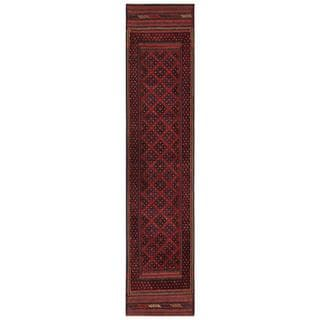 Herat Oriental Semi-antique Afghan Hand-knotted Tribal Balouchi Red/ Black Wool Rug (1'10 x 8'9)