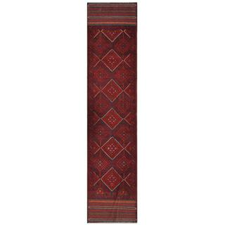 Herat Oriental Semi-antique Afghan Hand-knotted Tribal Balouchi Red/ Navy Wool Rug (1'10 x 8'11)