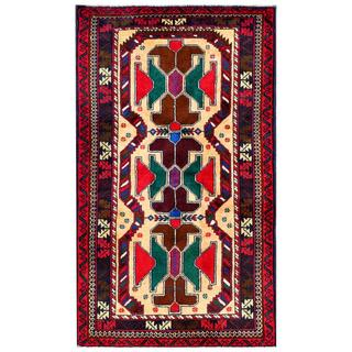 Herat Oriental Semi-antique Afghan Hand-knotted Tribal Balouchi Ivory/ Red Wool Rug (2'9 x 4'9)