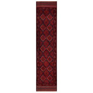 Herat Oriental Semi-antique Afghan Hand-knotted Tribal Balouchi Red/ Navy Wool Rug (1'11 x 8'9)