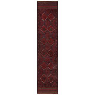 Herat Oriental Semi-antique Afghan Hand-knotted Tribal Balouchi Maroon/ Navy Wool Rug (1'9 x 8'5)