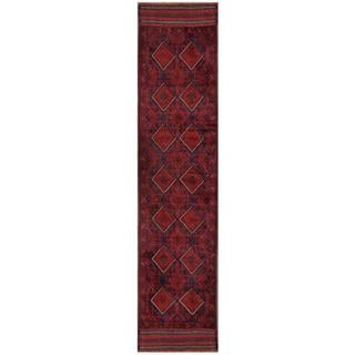 Herat Oriental Semi-antique Afghan Hand-knotted Tribal Balouchi Red/ Navy Wool Rug (1'10 x 8'4)
