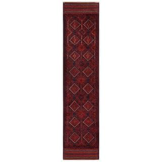 Herat Oriental Semi-antique Afghan Hand-knotted Tribal Balouchi Red/ Navy Wool Rug (1'11 x 8'11)