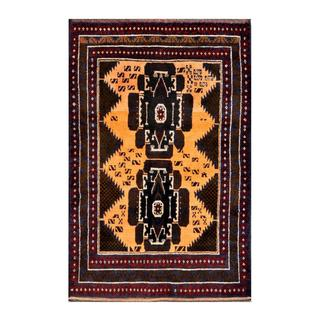 Herat Oriental Semi-antique Afghan Hand-knotted Tribal Balouchi Gold/ Black Wool Rug (2'10 x 4'4)