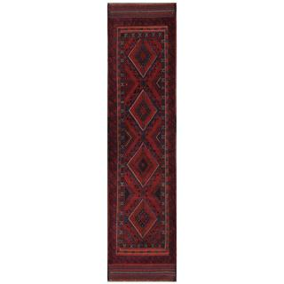 Herat Oriental Semi-antique Afghan Hand-knotted Tribal Balouchi Red/ Navy Wool Rug (1'11 x 8'7)