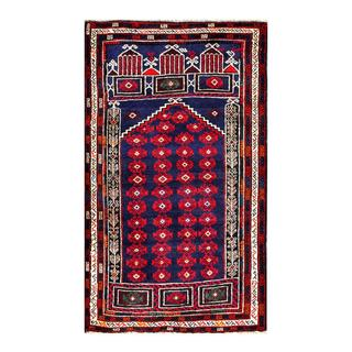 Herat Oriental Semi-antique Afghan Hand-knotted Tribal Balouchi Navy/ Red Wool Rug (2'9 x 4'9)