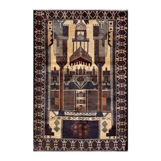 Herat Oriental Afghan Hand-knotted 1950s Semi-antique Tribal Balouchi Wool Rug (2'10 x 4'3)