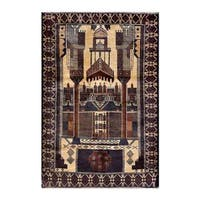 Herat Oriental Afghan Hand-knotted 1950s Semi-antique Tribal Balouchi Wool Rug (2'10 x 4'3) - 2'10 x 4'3
