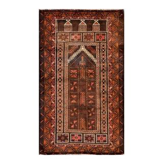 Herat Oriental Semi-antique Afghan Hand-knotted Tribal Balouchi Brown/ Beige Wool Rug (2'8 x 4'7)