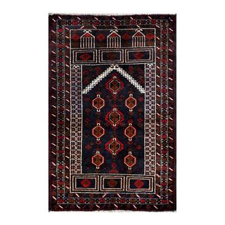 Herat Oriental Afghan Hand-knotted 1950s Semi-antique Tribal Balouchi Wool Rug (2'8 x 4'1)