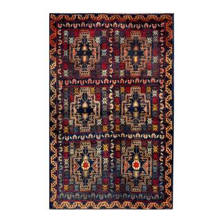 Herat Oriental Semi-antique Afghan Hand-knotted Tribal Balouchi Navy/ Tan Wool Rug (2'8 x 4'7)