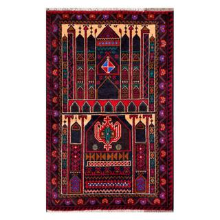 Handmade Herat Oriental Afghan 1960s Semi-antique Tribal Balouchi Wool Rug (Afghanistan) - 2'7 x 4'1