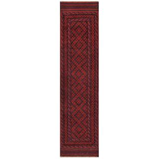 Herat Oriental Semi-antique Afghan Hand-knotted Tribal Balouchi Red/ Navy Wool Rug (1'10 x 7'10)