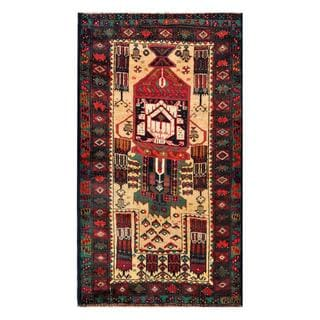 Herat Oriental Afghan Hand-knotted 1960s Semi-antique Tribal Balouchi Wool Rug (2'11 x 5'3)