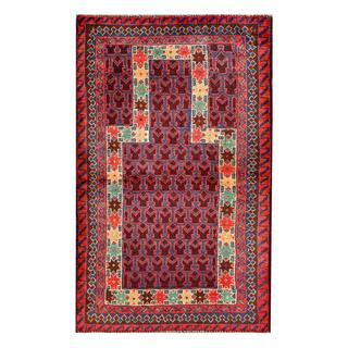 Herat Oriental Afghan Hand-knotted 1960s Semi-antique Tribal Balouchi Wool Rug (2'9 x 4'7)