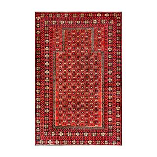Herat Oriental Semi-antique Afghan Hand-knotted Tribal Balouchi Red/ Black Wool Rug (2'10 x 4'3)