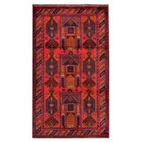 Herat Oriental Afghan Hand-knotted 1960s Semi-antique Tribal Balouchi Wool Rug - 2'9 x 4'10