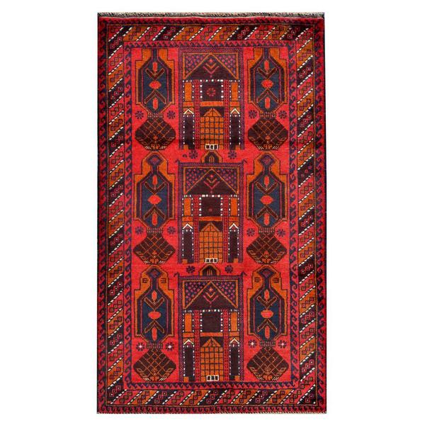 Herat Oriental Afghan Hand-knotted 1960s Semi-antique Tribal Balouchi Wool Rug (2'9 x 4'10) - 2'9 x 4'10