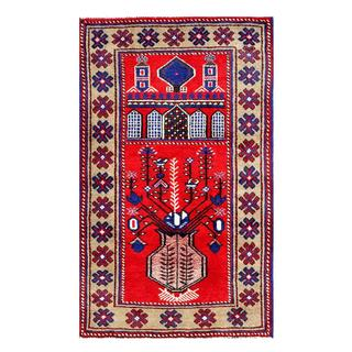 Herat Oriental Afghan Hand-knotted 1960s Semi-antique Tribal Balouchi Wool Rug (2'6 x 4'3)