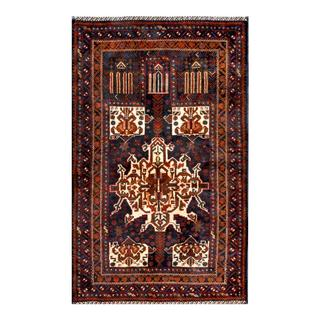 Herat Oriental Afghan Hand-knotted 1960s Semi-antique Tribal Balouchi Wool Rug (2'11 x 4'9)