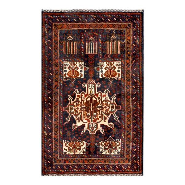 Herat Oriental Afghan Hand-knotted 1960s Semi-antique Tribal Balouchi Wool Rug - 2'11 x 4'9