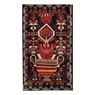 Herat Oriental Semi-antique Afghan Hand-knotted Tribal Balouchi Navy/ Ivory Wool Rug (2'8 x 4'7)