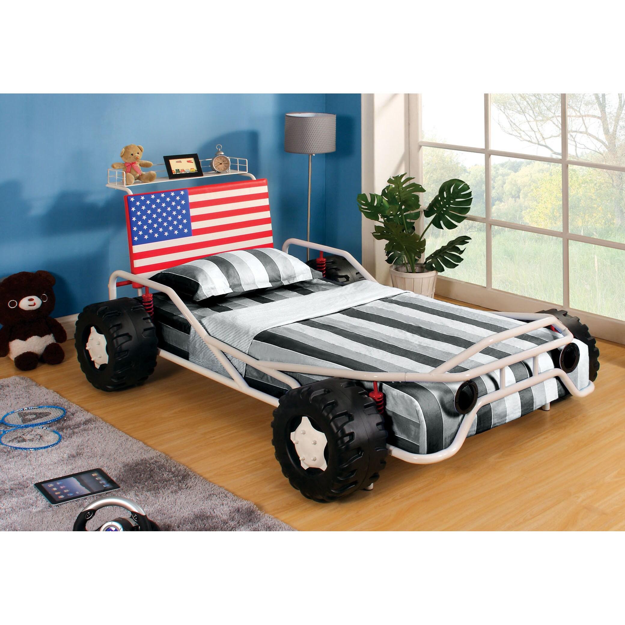 Furniture of america clint twin metal race car bed in red - Furniture Of America Patriot White Metal Race Car Youth B