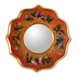 Handcrafted Reverse Painted Glass 'Carnelian Butterfly' Mirror (Peru)