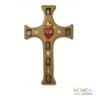 Handcrafted Pinewood 'Sacred Faith' Cross (Mexico)