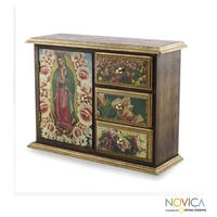 Handmade Pinewood 'Beloved Guadalupe' Decoupage Chest (Mexico)