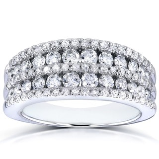 Link to Annello by Kobelli 10k White Gold 1ct TDW Multi-row Diamond Anniversary Band Similar Items in Rings